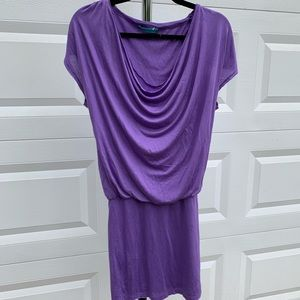 Alice and Olivia purple drape front mini dress XS